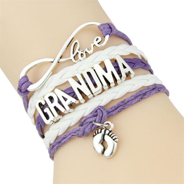 Infinity Love Mom Grandma Bracelet Heart Feet Charm For Women Leather Bracelets Bangles Drop