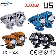 цена на Modoao 1pcs 2pcs 125W Motorcycle LED Headlight 12V 3000LMW U5 Motorbike Driving Spotlights Headlamp Moto Spot Head Light Lamp