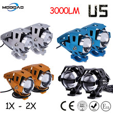Modoao 1 stks 2 stks 125 w Motorfiets LED Koplamp 12 v 3000LMW U5 Motor Rijden Spots Koplamp Moto Spot head Light Lamp(China)