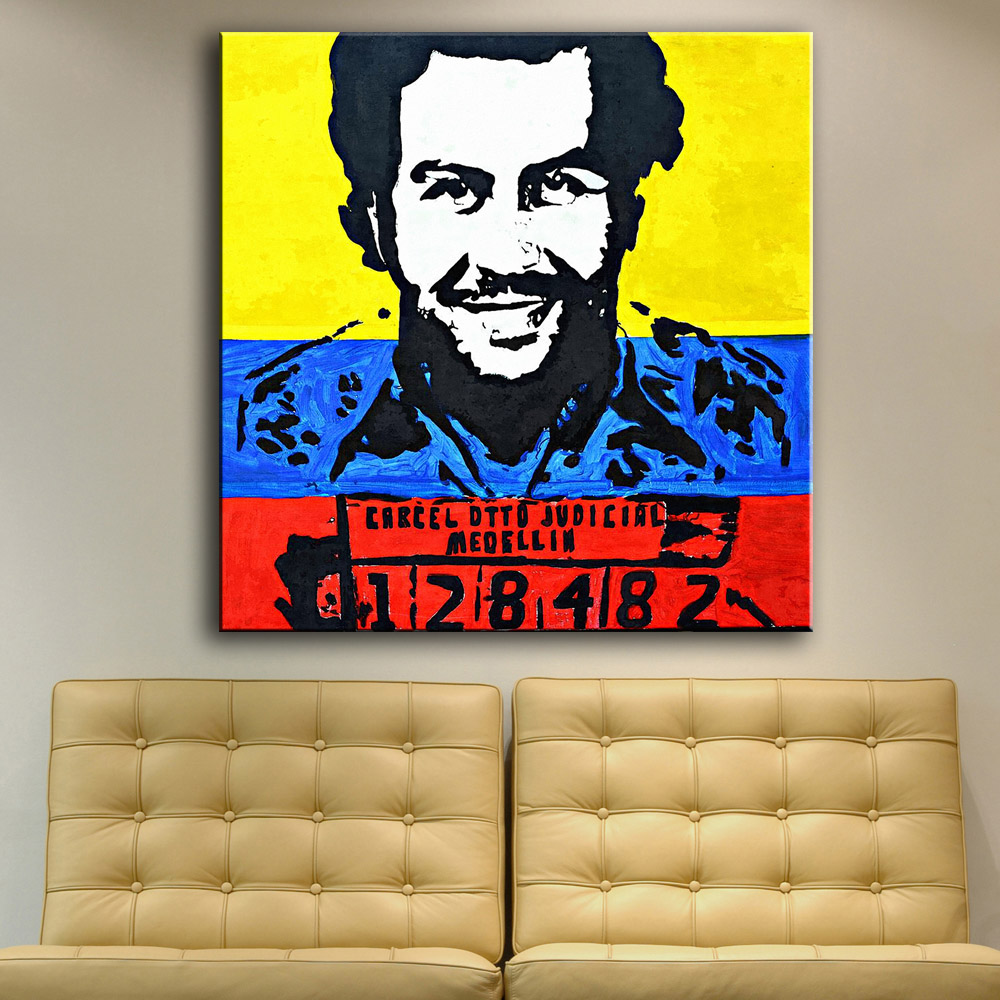 Connu Large size Printing Oil Painting Pablo Escobar Mug Shot 1991  AT43