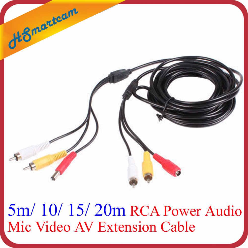 وصلة فيديو AV بقوة 10 متر و33 قدم و65 قدم و20 متر RCA لكاميرا CCTV عالية الدقة 1080P AHD TVI CVI IR DVR مع محولات RCA BNC