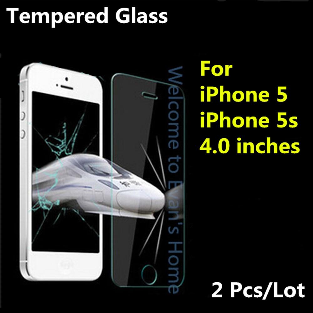 2Pcs Μπροστινό Premium Tempered Glass για iphone 5s SE 5 - Ανταλλακτικά και αξεσουάρ κινητών τηλεφώνων - Φωτογραφία 1