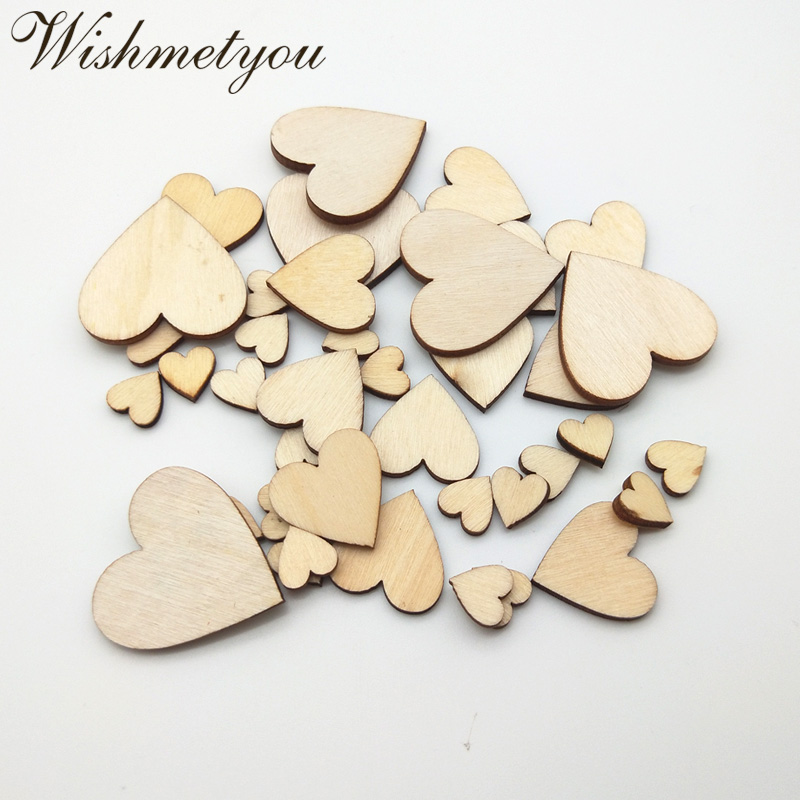 WISHMETYOU New Arrive Nature 10 30mm Wood Love Heart Wooden For Diy Wedding Table Scatter Decor Scrapbook Crafts Finding Making in Wood DIY Crafts from Home Garden