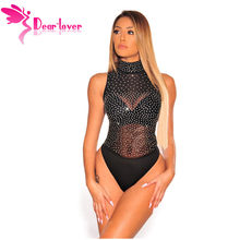 d1efc3614376 Dear Lover Sleeveless Bodysuits Women Sexy Romper Black Sheer Mesh Silver  Rhinestone Studded Mock Neck Bodysuit LC32371
