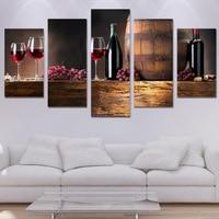 5 Piece Canvas Art HD Printed Drink Black Canvas Artwork Grape Wine Painting Room Decor Wall