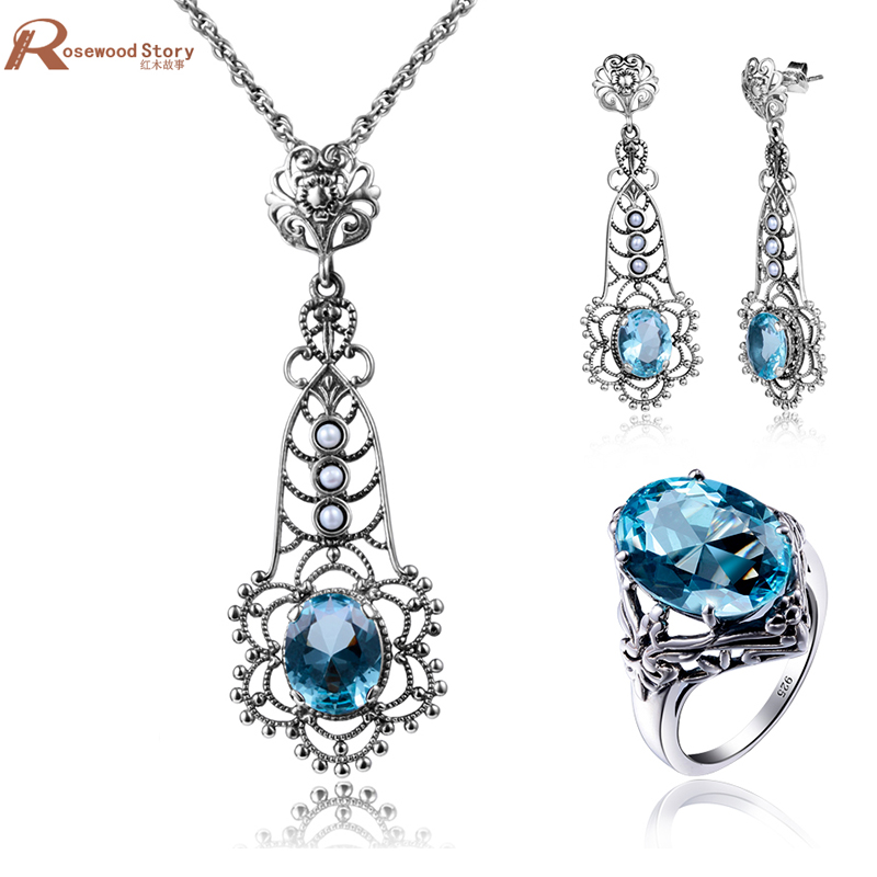 Wedding Pearl Jewelry Sets Vintage Sky Blue Rhinestone Real 925 Sterling Silver Crystal Pendant Earring Ring Fashion Jewelry Set charming embellished blue rhinestone wedding ring