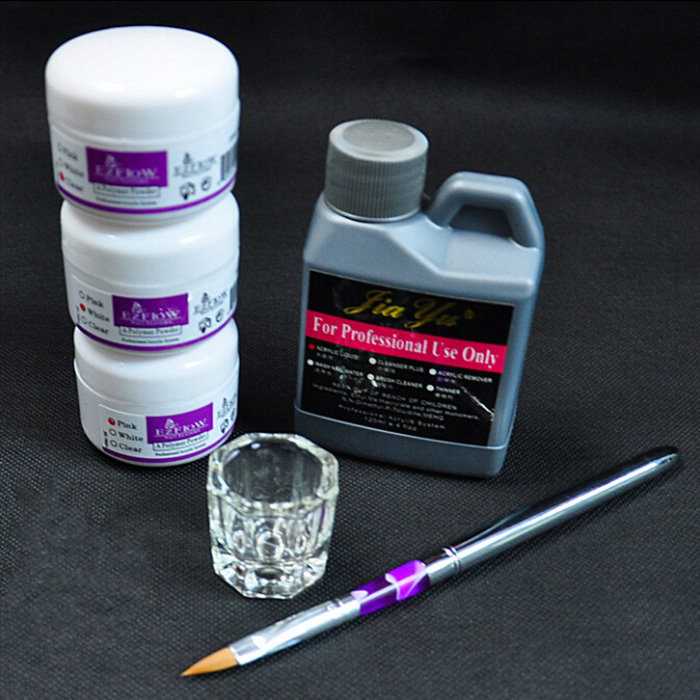BTT-124 Nail Art Outils DIY Kit Nail Kit Acrylique Liquide Poudre Pen Dappen Plat, Acrylique nail art kit + livraison gratuite