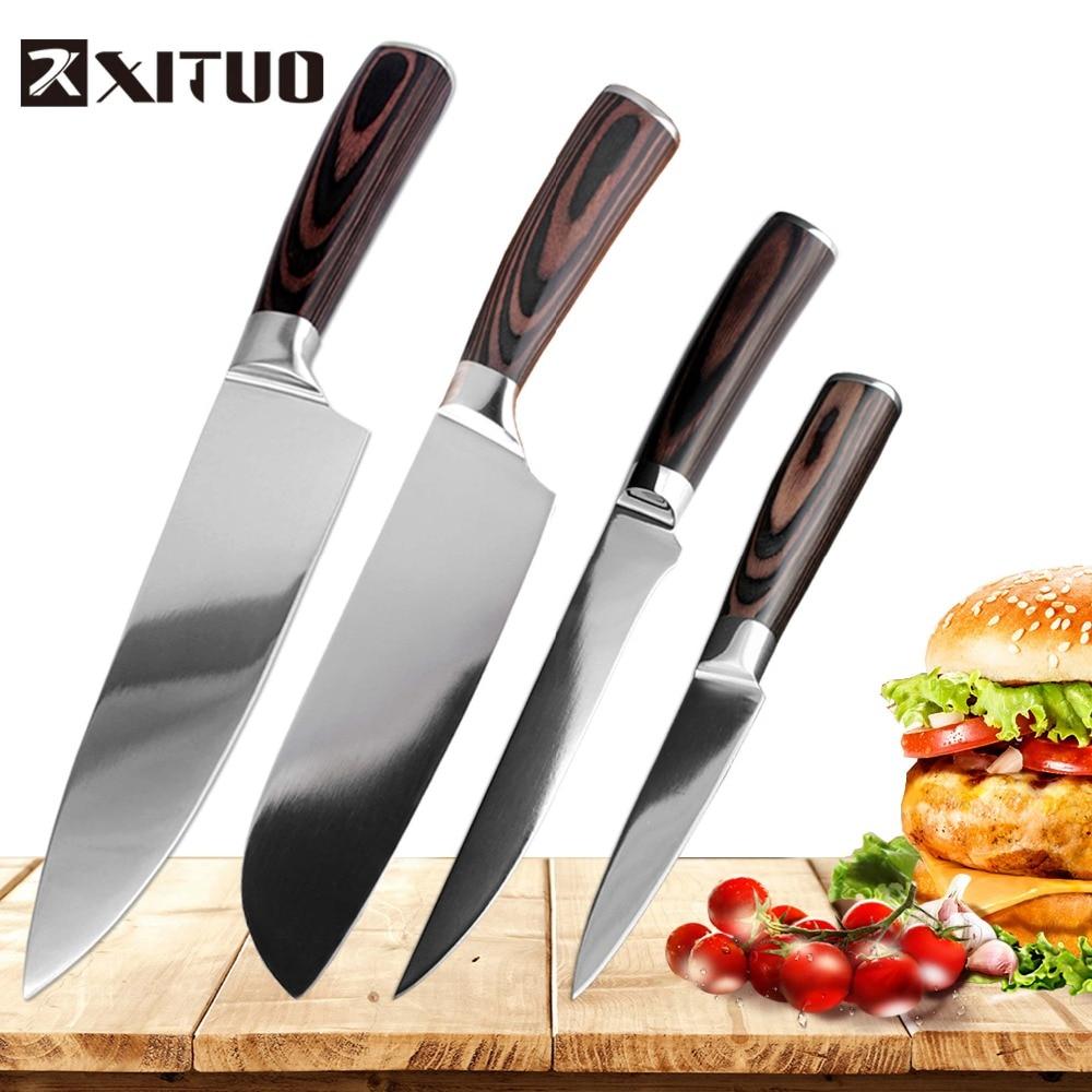 Japanese Kitchen Set: XITUO Kitchen Knife Set 4PC Japanese Style Kitchen Knife