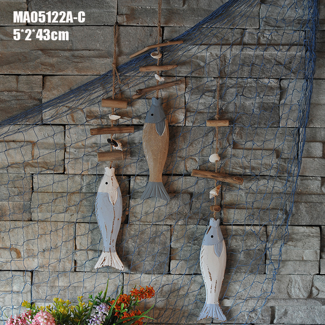 Wooden Fish Hangings Vintage Blue Wall Hanging Nautical Sea Figurines Home Decoration Accessories Party Supplie Wedding