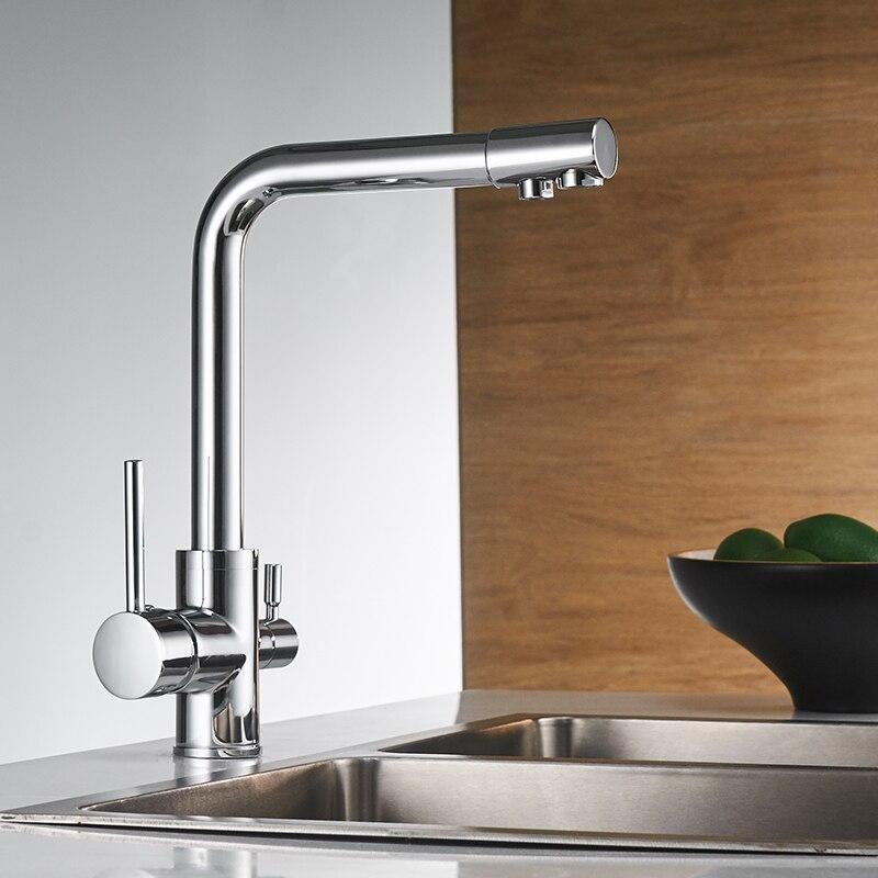 Filtre robinets de cuisine pont monté mélangeur robinet 360 Rotation avec Purification de l'eau caractéristiques mélangeur robinet grue pour WF-0175 de cuisine - 2