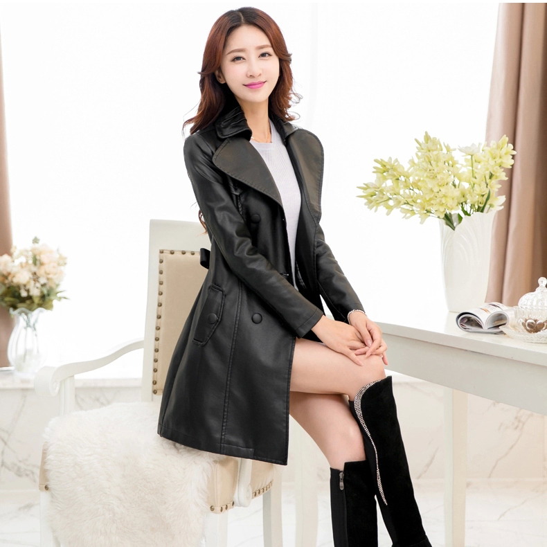 New 2018 Autumn And Winter Faux Leather Jackets Women S Long Design