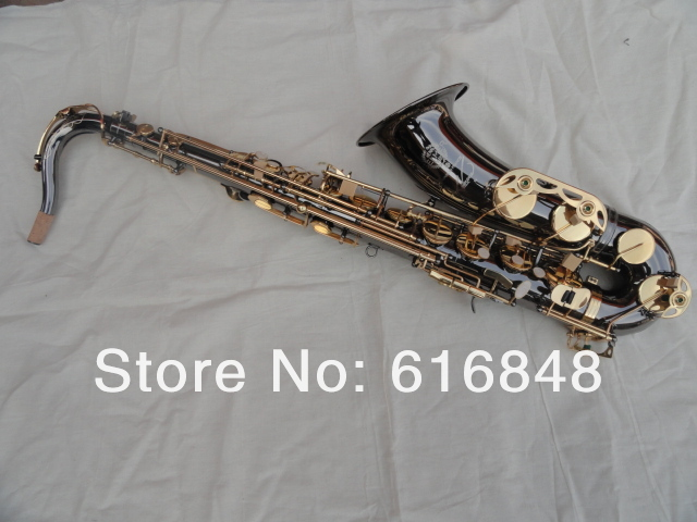 STS-R54 Bb Tenor Saxophone B Flat 54 Musical Instruments Black Nickel Body Gold Lacquer Key Brass Sax With Case Free Shipping