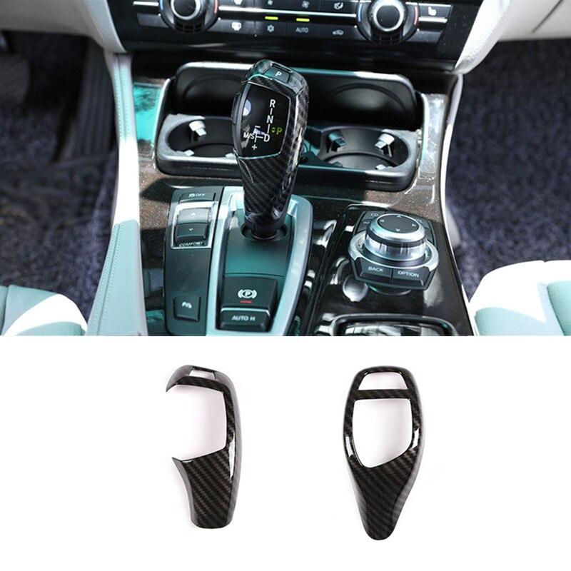 Estilo Fibra De carbono Alça De Mudança De Marcha Botão Manga Cobertura Adesivos Para BMW f10 F20 F30 f32 F25 X5 F15 X6 f16 Acessórios Interiores