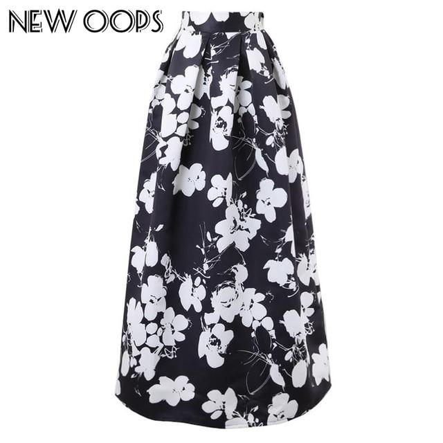 New Oops Vintage Floor Long Skirt Black White Flower Print Maxi