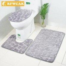 цена на RFWCAK 3Pcs/Set Bathroom Carpet Mat Set Embossing Flannel Floor Rugs Cushion WC Toilet Seat Cover Bath Mat For Home Decoration
