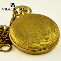 Collectible Antique Old Copper Carved Flower Mechanical Pocket Watch Hand Winding Retro Vintage Pendant Fob Chain