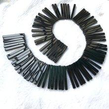 Бусины из натурального черного агата и оникса Длинные бусины