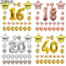Happy Birthday Party Decorations Adult Balloons Set Helium Balloon Birthday Decoration Letter Ballon Latex Confetti Balloon trendy female 12 constellation pendant necklace charm gold chain zodiac sign choker necklaces for women men collar jewelry gift