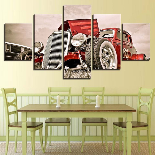 Home Decor Canvas Wall Art Pictures 5 Pieces Hot Rod Red Front View ...