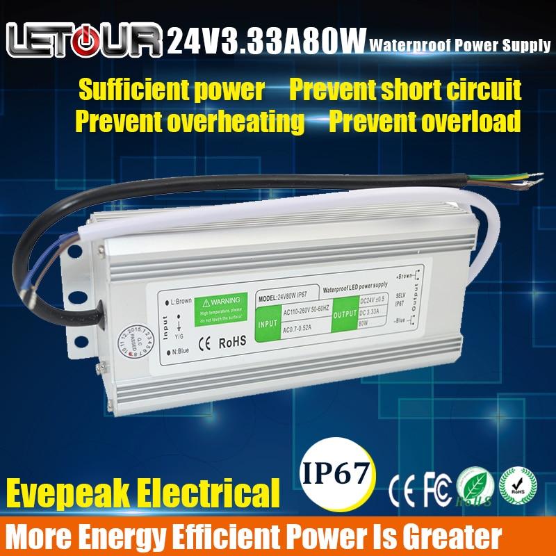 LED Waterproof Power Supply 24V3.33A  IP67 AC 100V-260V Converter Adapter DC 24V 80W Power Supply for LED Lighting,LED Strip led power supply 5v 30a ac 96v 240v converter adapter dc 5v30a 150w power supply for led lighting led strip cctv ce fcc cert