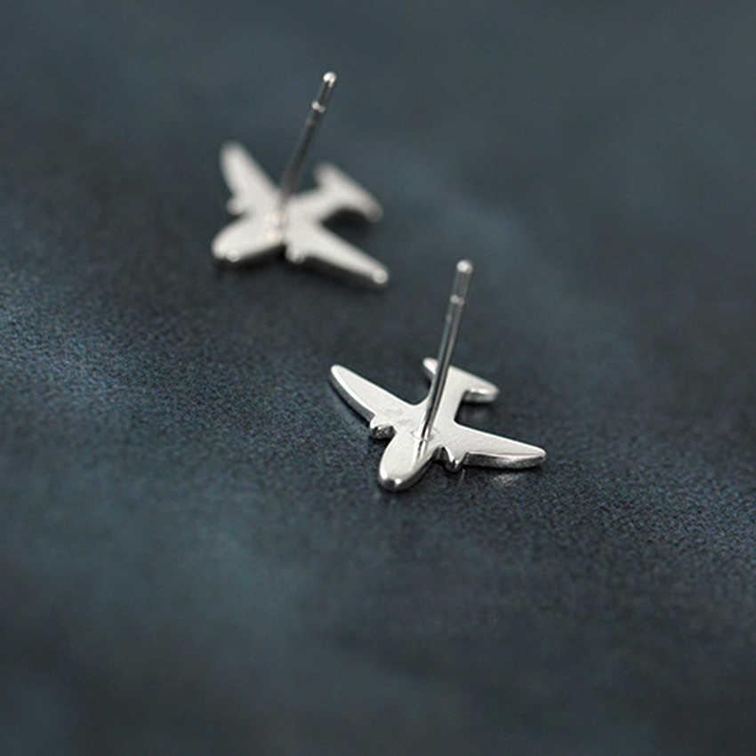 QIAMNI 925 スターリングシルバーかわいいフライング飛行機スタッド女性女の子ステートメントジュエリーアクセサリー誕生日クリスマスギフト