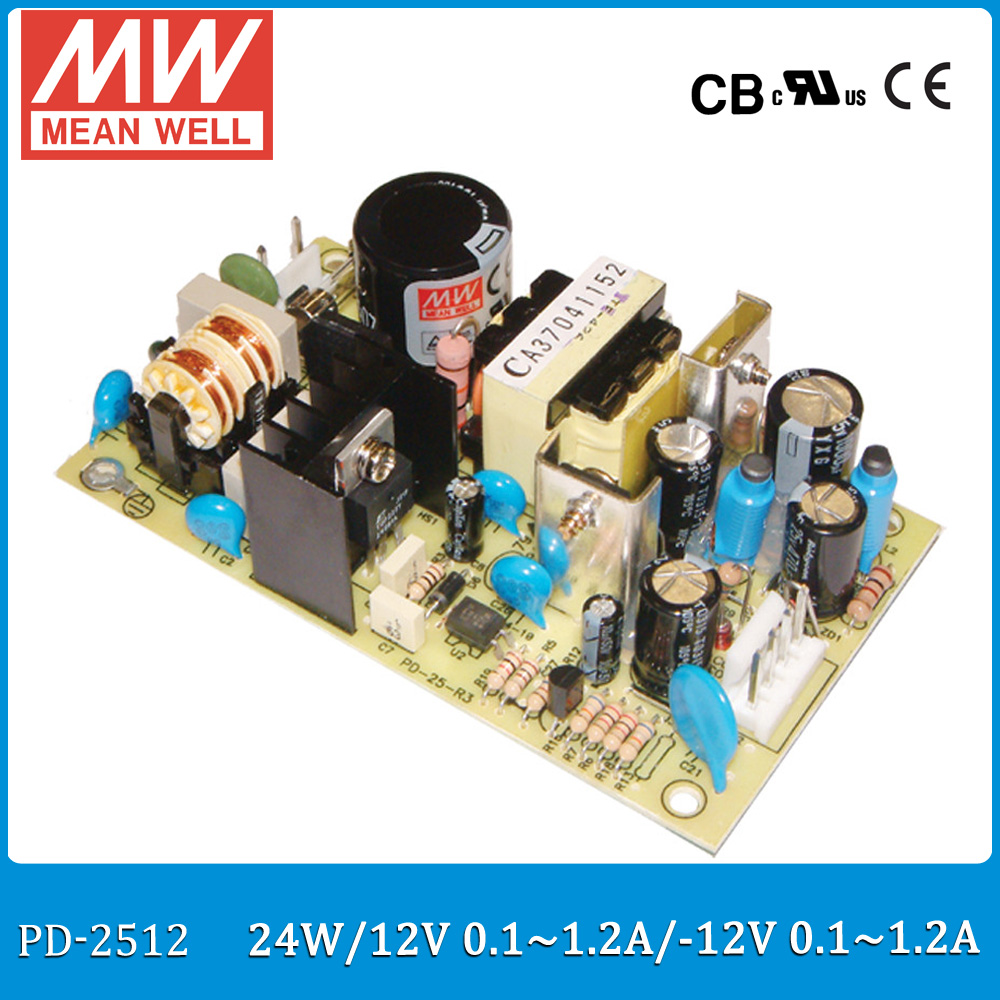 все цены на  Original MEAN WELL PD-2512 +12V 0.1-1.2A, -12V 0.1-1.2A 24W Dual output meanwell switching power supply PCB open frame type  онлайн