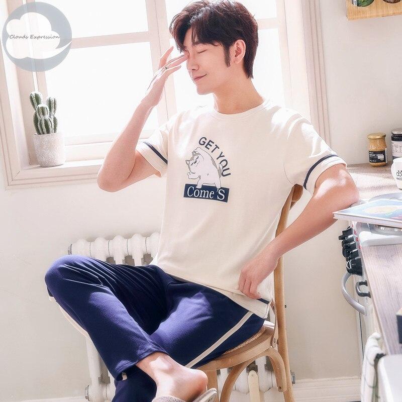 Summer Knitted Cotton Cartoon Mens Pyjamas Pajamas Casual Short Tops +Long Pants Sets Men's Sleepwear Night Pijamas 3XL Homewea