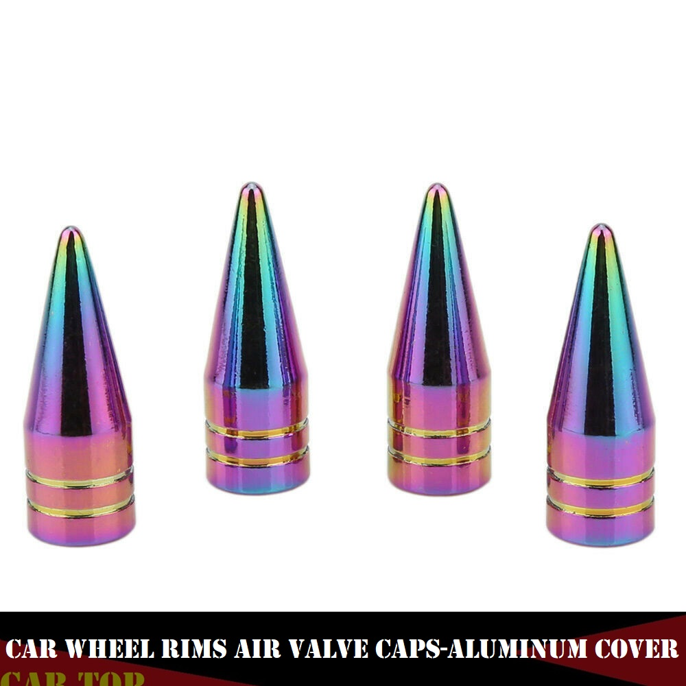 4PCS Neon Tyre Cap Pneumatic Valves Wheel Car Valve Plugs Spiked Valve Stem Cap Aluminum Tire Air Car Truck Bike SUV Wheel