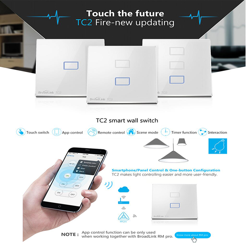Broadlink Switch TC2 1/2/3 gang,smart Home Automation Remote wifi Wall touch Light Switch,UK Standard,english version For Light 2017 smart home crystal glass panel wall switch wireless remote light switch us 1 gang wall light touch switch with controller