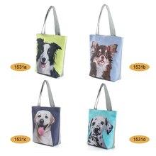 Woman Tote Canvas Bag Cute Cat Dog Printed Handbag Animal Design Beach Casual Shoulder Bags MSJ99 недорого