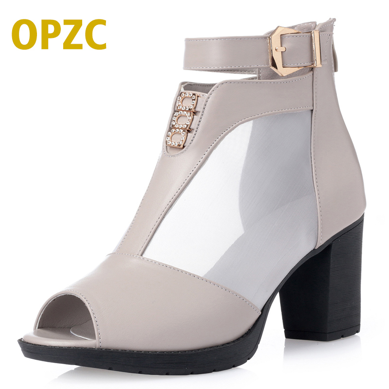 Summer Women ankle Boots genuine Leather breathable Motorcycle Boots peep toe black sandals shoes sexy hollow out women shoes blue jeans bota feminina 2017 summer shoes ankle boots for women cowboy denim high heels sexy peep toe tear hollow out sandals