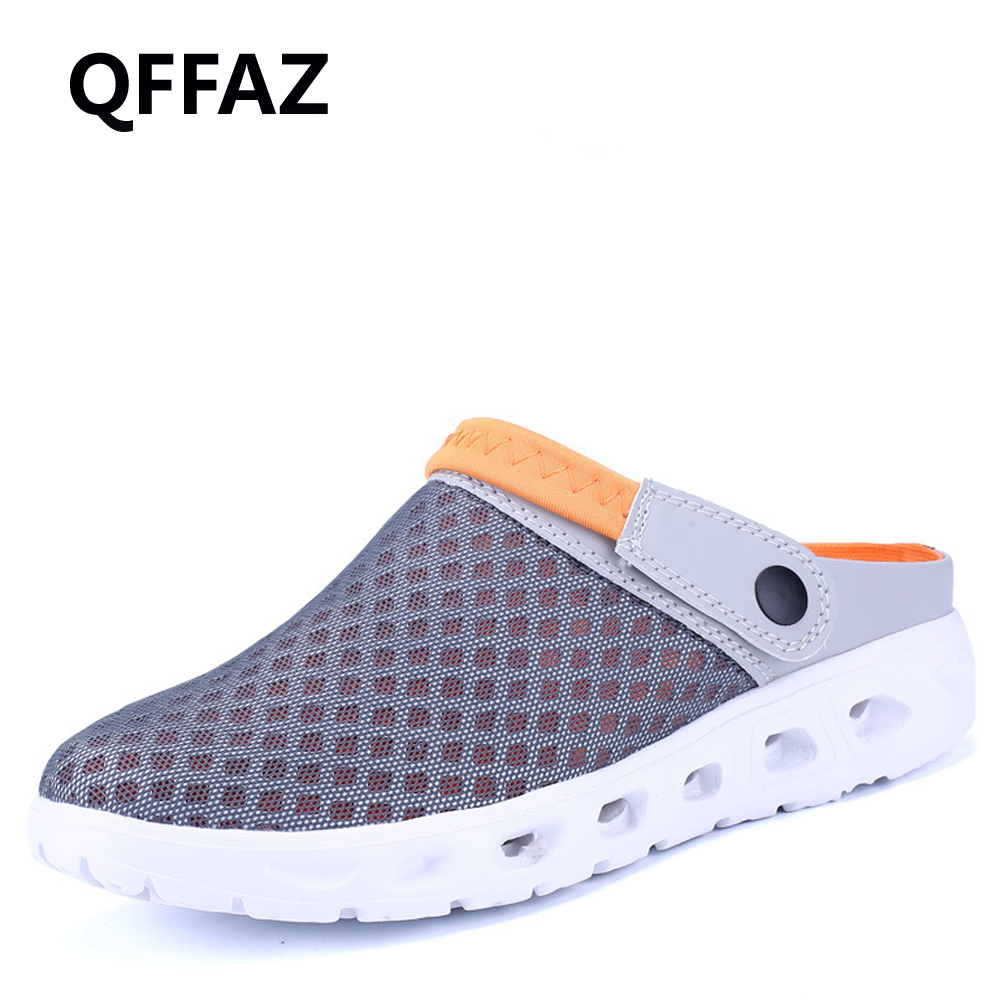 QFFAZ Men Summer Sandals Breathable Mesh Sandal Beach Mens Shoes Water Man Slippers Fashion Slides Cheap Shoes Big Size 38-46