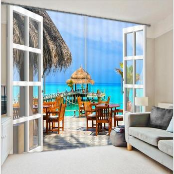 Coast of Beautiful Scenery 3D Printing Thick Sunshade Window Curtains Bedding Living Room or Hotel Cortians