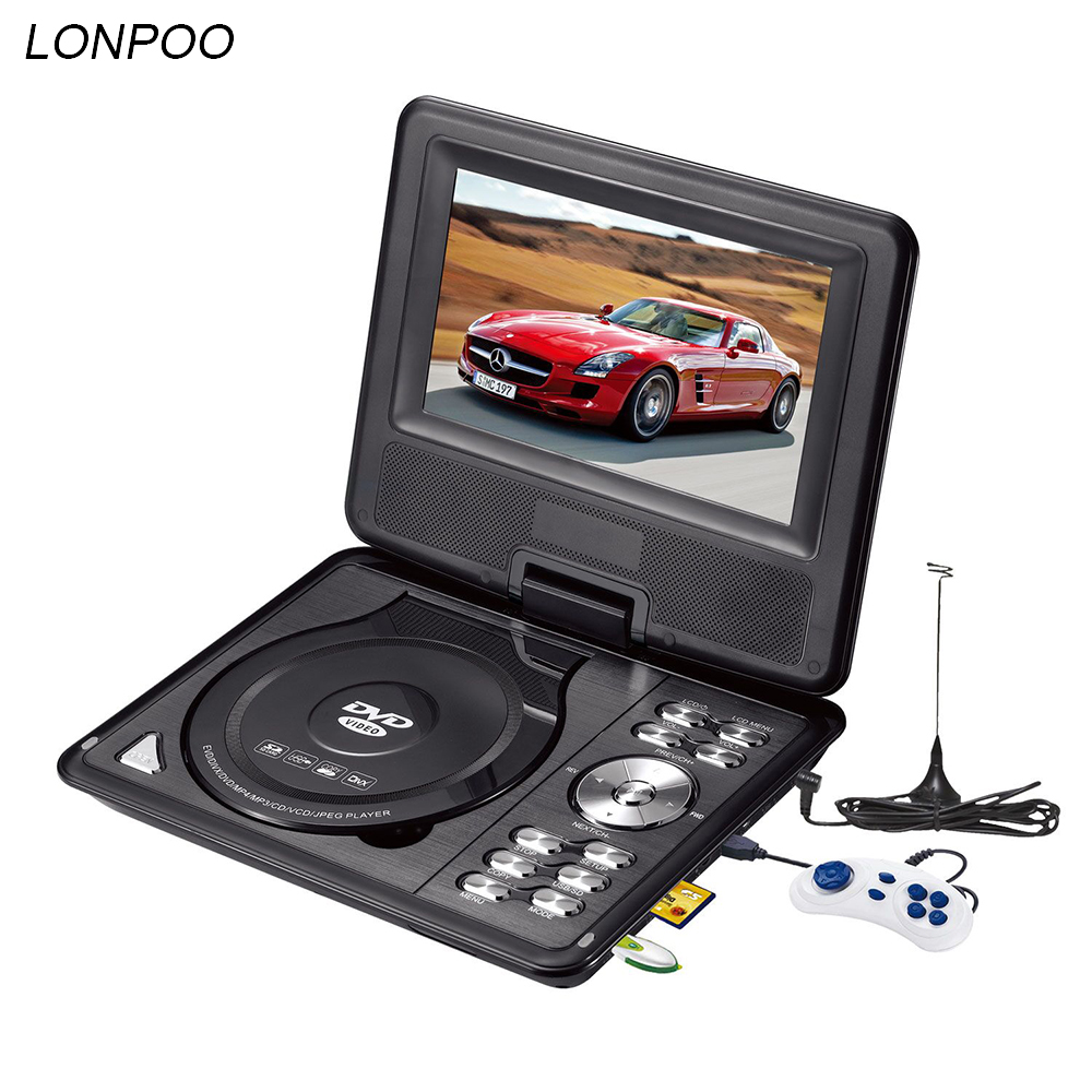 lonpoo newest 7 inch portable dvd player with tft screen display support tv vcd cd mp3 4 usb. Black Bedroom Furniture Sets. Home Design Ideas