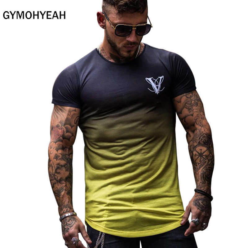 GYMOHYEAH Gradient color T Shirt Fast compression Breathable Short Sleeve Fitness