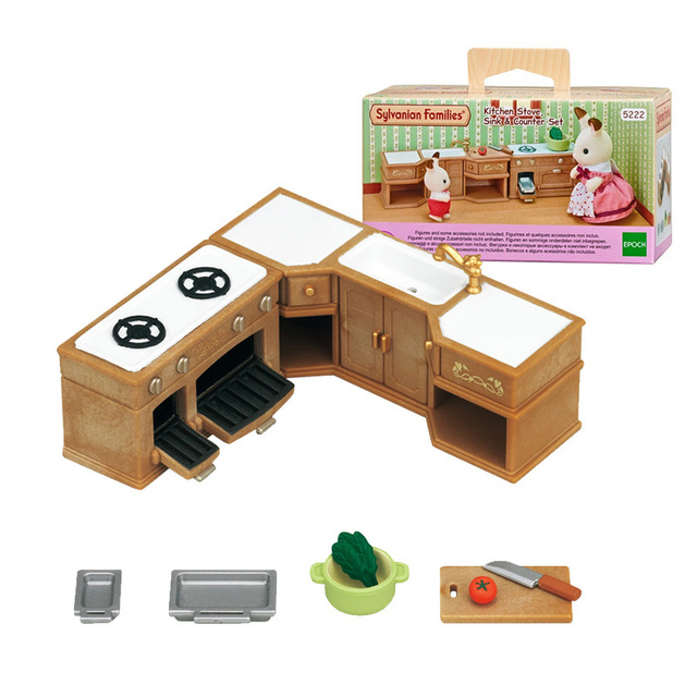 Sylvanian Families Dollhouse Playset Kitchen Stove Sink Counter
