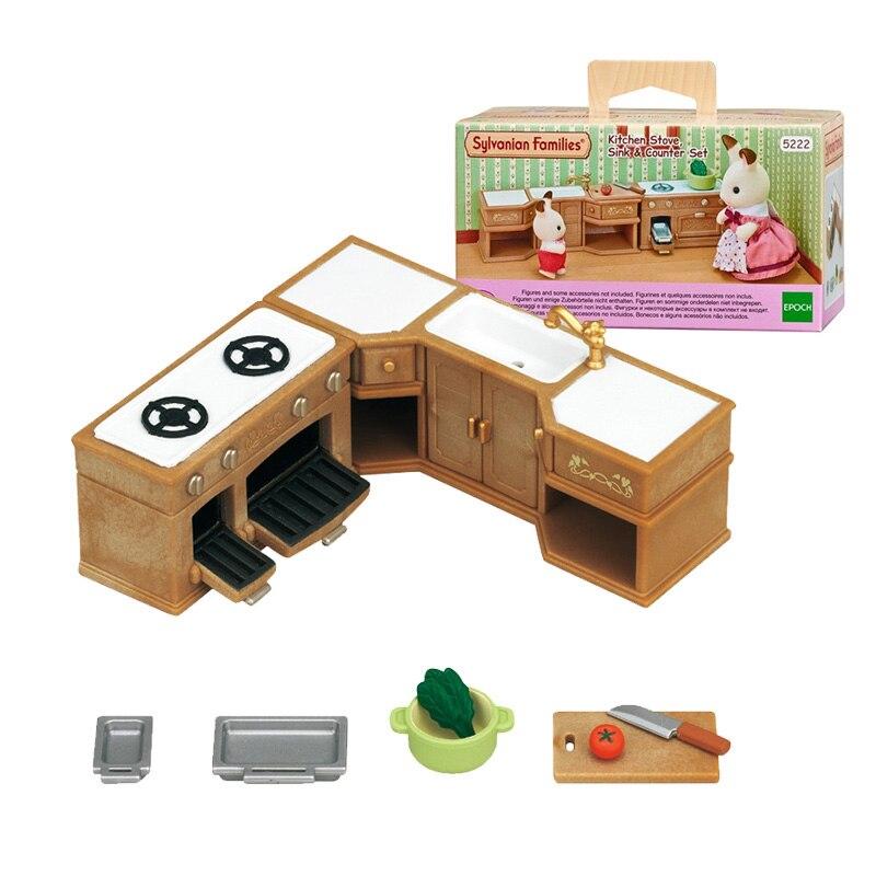 Набор для кукольных игр Sylvanian Families, кухонная плита, мойка и Прилавок, аксессуары, игрушка, без фигурки, Новинка #5222
