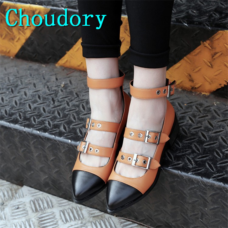 Choudory Mixed Colors Casual Buckle Strap Comfortable Genuine Leather Shallow Women Shoes Med Heels Pointed Toe Mary Janes Pumps