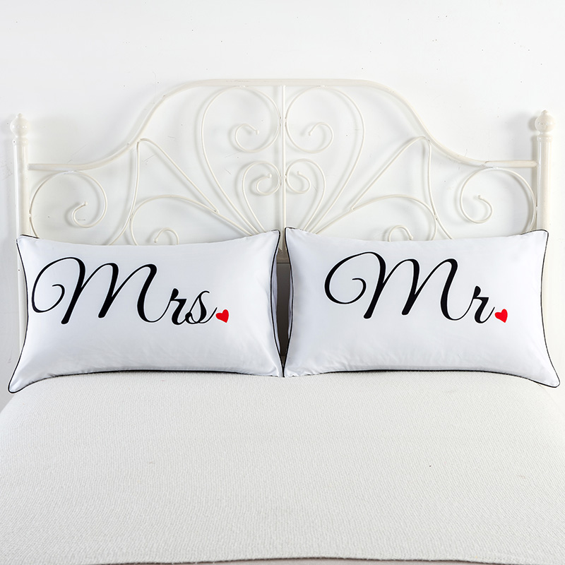 Mr and Mrs Pillowcases Decorative Pillow Cases USA Queen Size Romantic Anniversary Wedding Valentines Day Gift