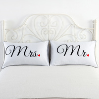 Mr And Mrs Pillowcases Decorative Pillow Cases Home Decor USA Queen Size Romantic Anniversary Wedding Valentines