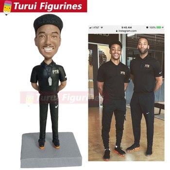 modeling clay policeman figurines custom football coach bobblehead figurine soft pottery handicrafts facial sculpture