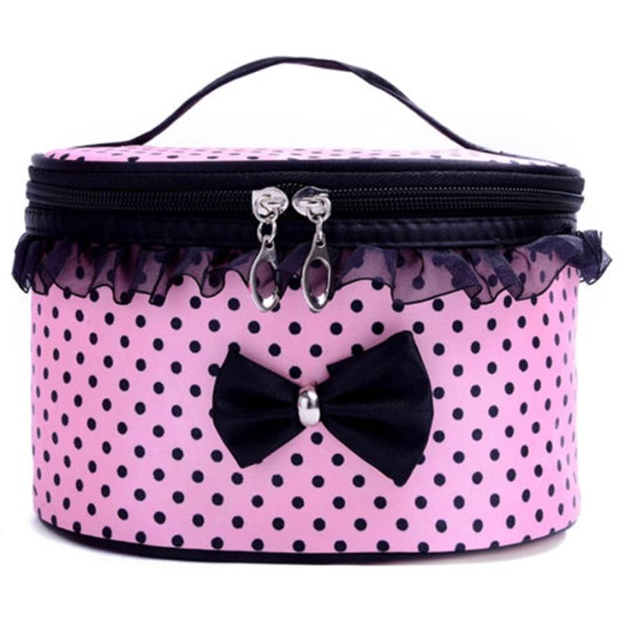 Sale !! Lucky Portable Travel Toiletry Makeup Womens  Cosmetic Bag Organizer Holder Women Handbag Lace Dot