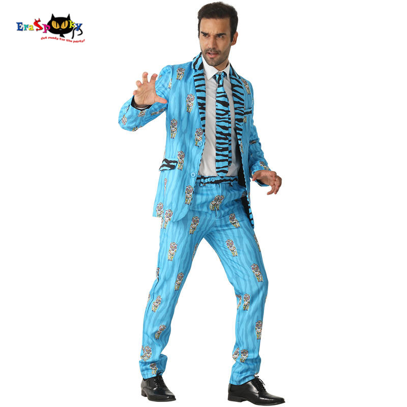 CRAZE 2018 Blue Indian Tiger Suits Men Stripe Halloween Costumes Blazer Animal Cosplay Fashion Carnival Party Stage Outfit