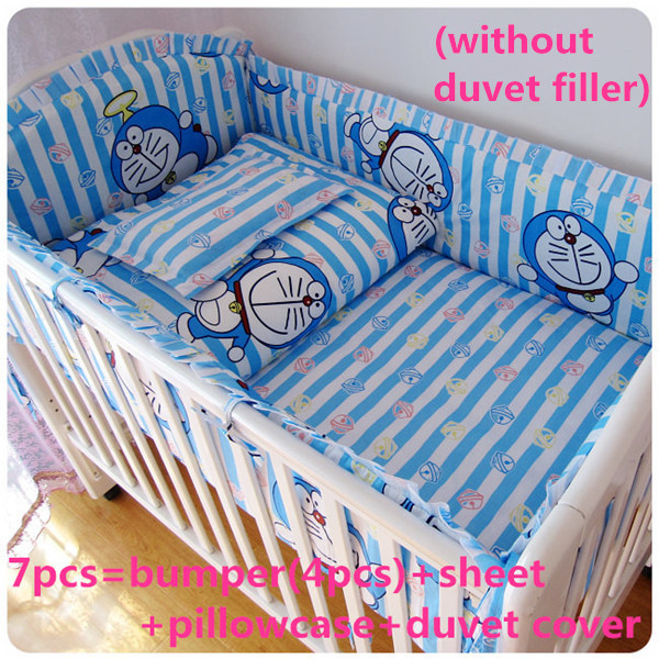 Promotion! 6/7PCS With Filler 100% cotton crib bedding set of unpick and wash baby bedding 120*60/120*70cm with filler freeshipping pink color crib kit bedding piece set 5pcs baby bedding 100% cotton 120 70cm