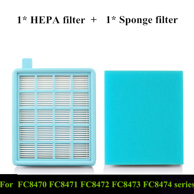 1x HEPA Filter + 1x Sponge Filter FC8470 Air Filter For Philips FC8471 8472 8473 8474 8475 Vacuum Cleaner Parts