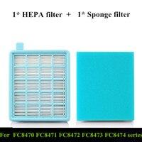 1x filtro hepa + 1x esponja filtro fc8470 filtro de ar para fc8471 8472 8473 8474 8475 aspirador de pó filtro peças acessórios