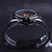 Forsining Sport Racing Series Skeleton Stainless Steel Black Golden Dial Top Brand Luxury Watches Men Automatic Watch Clock Men