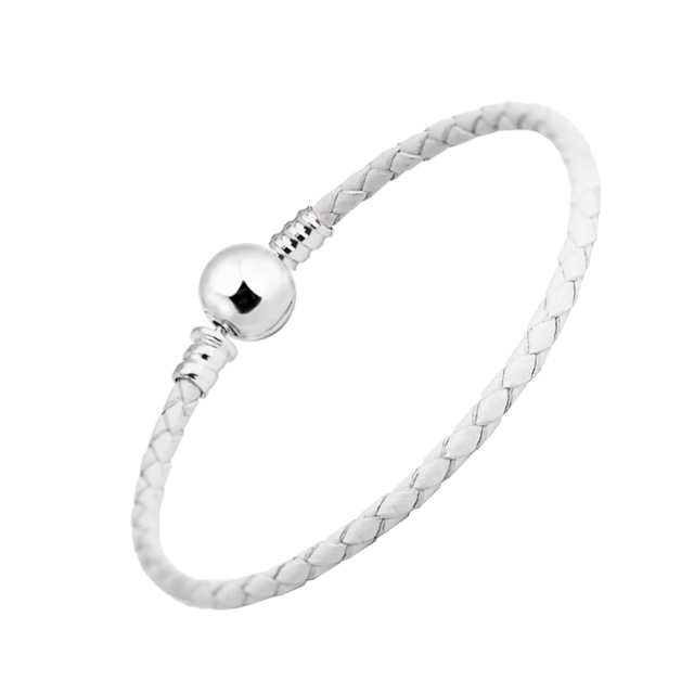b819127d1 100% 925 Sterling Silver Ball Clasp Bracelet White Leather Bracelets for Women  Fit Charm Beads