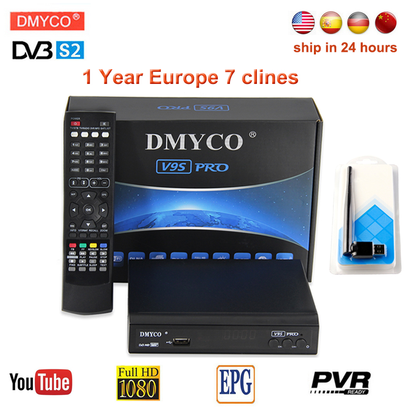 V9S PRO TV Receptor DVB-S2 HD FTA Satellite Receiver With 1 Year Europe CCcam 7 Clines+USB WIFI Support PowerVu Biss Key youtube цены онлайн