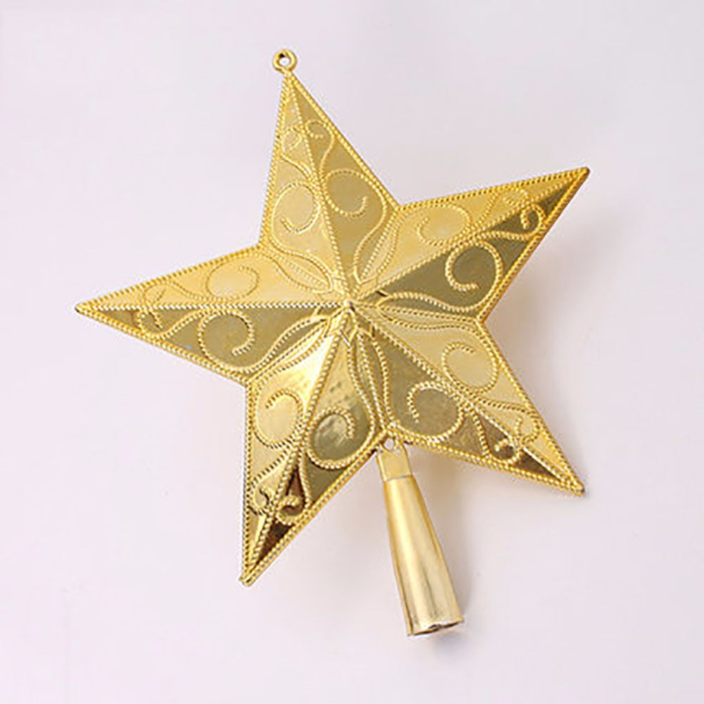 2pcs Fivepointed Gold Star Christmas Tree Topper Home Ornaments   Unlit(china)